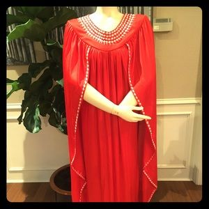 VINTAGE free size one-of-a-kind brick red dress